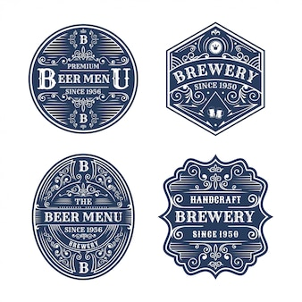 Ensemble de conception d'insigne de brasserie vintage