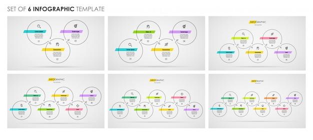 Ensemble de conception de ligne mince infographique avec des icônes et 3, 4, 5, 6, 7, 8 options ou étapes. concept d'entreprise.
