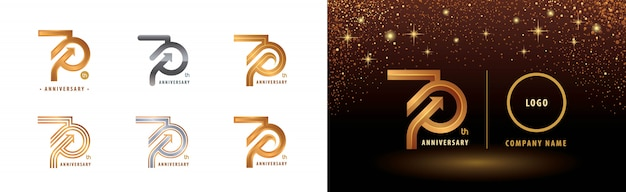Ensemble de conception de logo 70e anniversaire, célébration d'anniversaire de soixante-dix ans