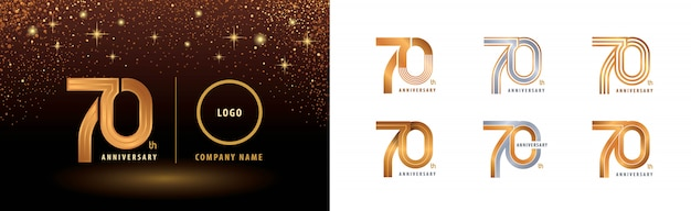 Ensemble de conception de logo 70e anniversaire, célébration de soixante-dix ans
