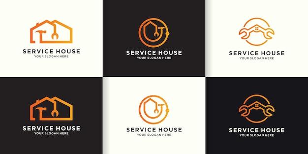 Ensemble de conception de logo d'amélioration de l'habitat, logo de combinaison de maison, marteau et clé