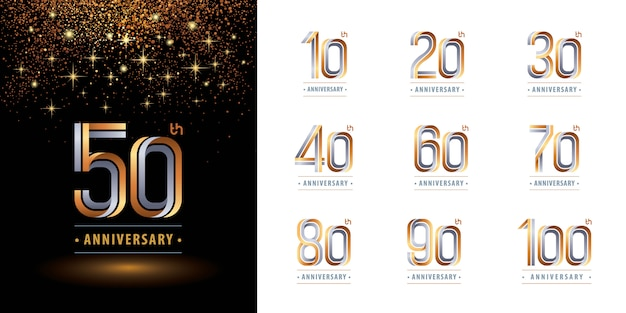 Ensemble de conception de logo d'anniversaire, célébrer le logo d'anniversaire