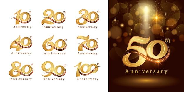 Ensemble de conception de logo anniversaire, élégant logo classique, lettres de numéro serif vintage et rétro