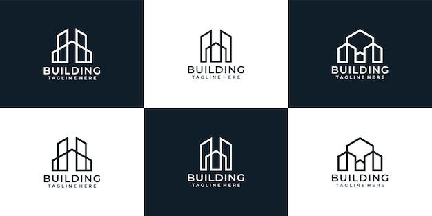Ensemble de conception de logo d'architecture