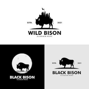 Ensemble de conception de logo de bison sauvage et de bison de lune