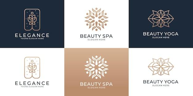 Ensemble de conception de logo de cercle abstrait de collection avec le modèle de logo de concept de luxe