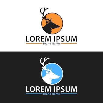 Ensemble de conception de logo de chasseur de cerfs couple