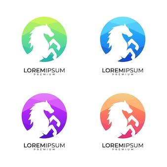 Ensemble de conception de logo coloré cercle de cheval