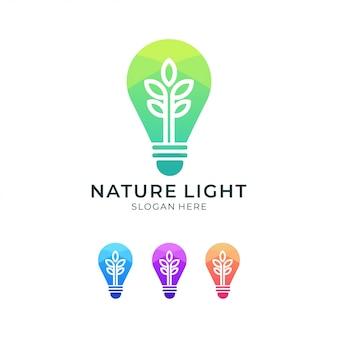 Ensemble de conception de logo coloré lampe nature