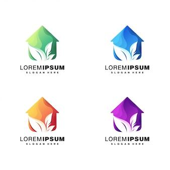 Ensemble de conception de logo coloré maison et feuille