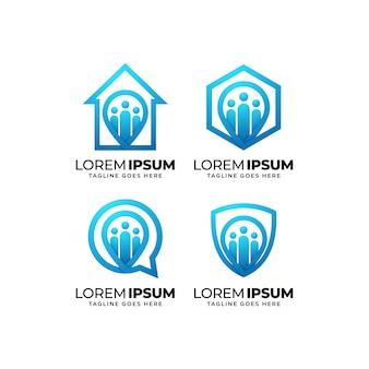 Ensemble De Conception De Logo De Communauté De Personnes Vecteur Premium