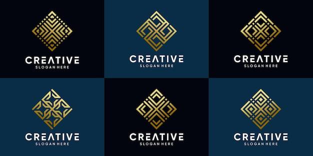 Ensemble de conception de logo créatif pour entreprise commerciale avec dessin au trait et couleur de style doré