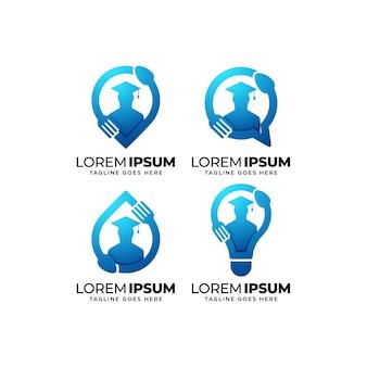 Ensemble de conception de logo d'éducation alimentaire