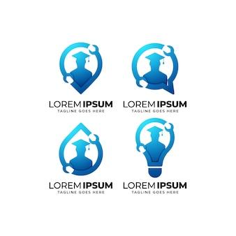 Ensemble de conception de logo d'éducation mécanique