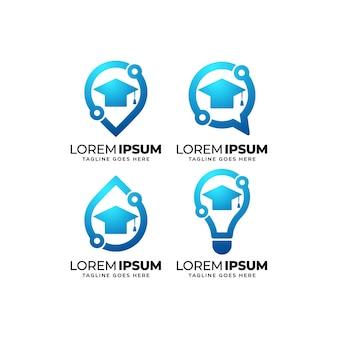 Ensemble de conception de logo d'éducation technologique
