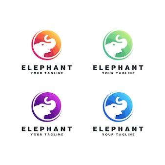 Ensemble de conception de logo d'éléphant