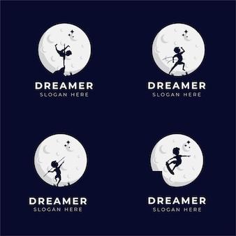 Ensemble de conception de logo enfant rêveur