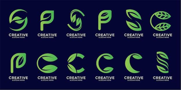 Ensemble de conception de logo de feuille de lettre