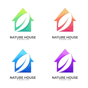 Ensemble de conception de logo feuille maison nature