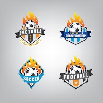Ensemble de conception de logo de football, illustration vectorielle