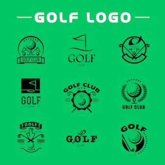 Ensemble de conception de logo de golf plat
