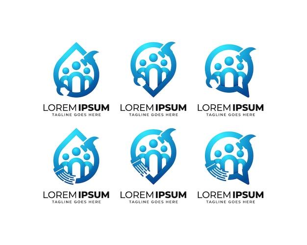Ensemble de conception de logo de groupe de réparation et de maintenance