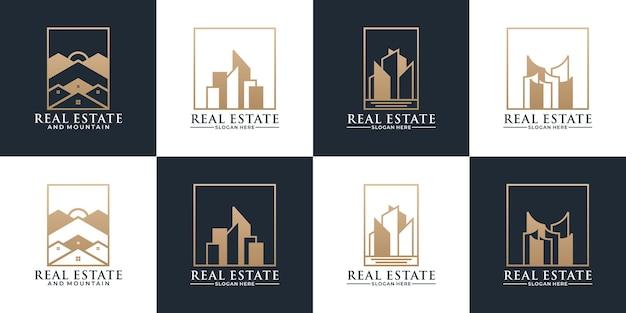 Ensemble de conception de logo d'hypothèque immobilière d'idée avec la couleur d'or