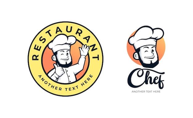 Ensemble de conception de logo d'insigne de restaurant chef
