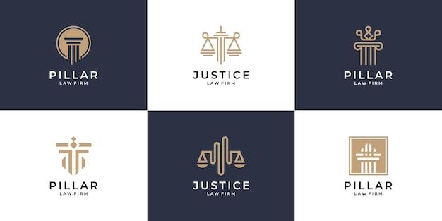 Ensemble de conception de logo justice et pilier minimaliste