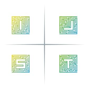 Ensemble de conception de logo lettre maze