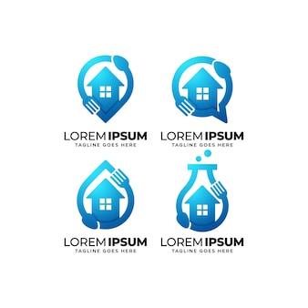 Ensemble de conception de logo de maison de nourriture