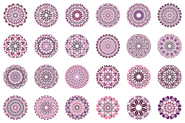 Ensemble de conception de logo de mandala floral abstrait coloré