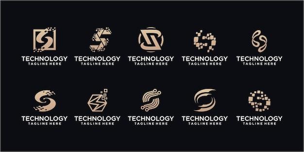 Ensemble de conception de logo de point de lettre s de technologie. s initial pour la technologie des symboles, internet, le système, l'intelligence artificielle et l'ordinateur. conception de logo d'inspiration moderne.