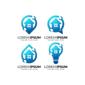 Ensemble de conception de logo de service de réparation à domicile