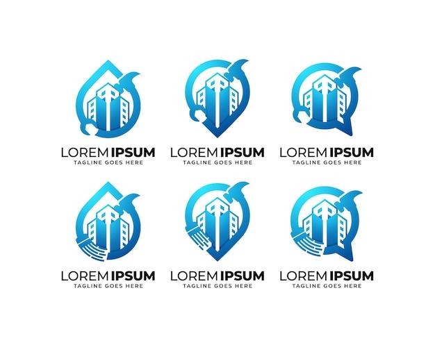 Ensemble de conception de logo de service de réparation et d'entretien de bâtiments