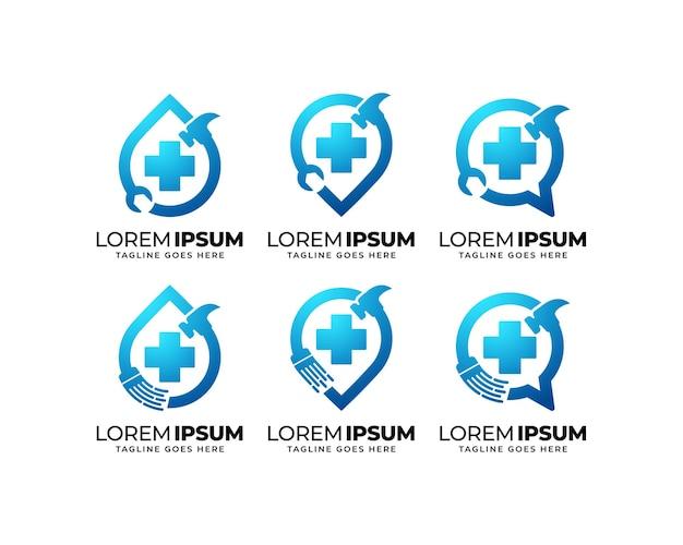Ensemble de conception de logo de service de réparation et de maintenance