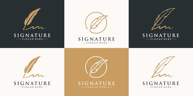 Ensemble de conception de logo de signature de plume d'or