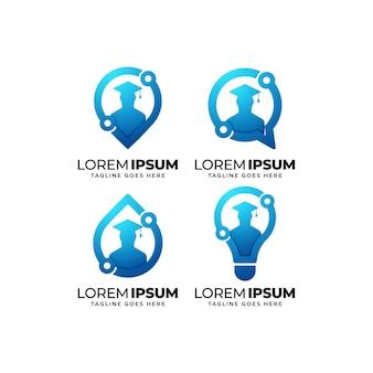 Ensemble de conception de logo de technologie de l'éducation