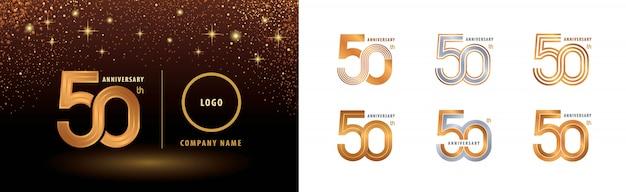 Ensemble de conception de logotype 50e anniversaire, célébration d'anniversaire de cinquante ans