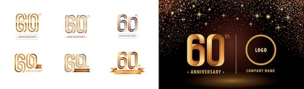 Ensemble de conception de logotype 60e anniversaire, soixante ans célèbrent le logo anniversaire