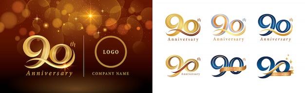 Ensemble de conception de logotype 90e anniversaire, quatre-vingt-dix ans célébrant le logo anniversaire