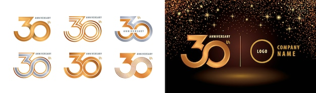 Ensemble de conception de logotype du 30e anniversaire