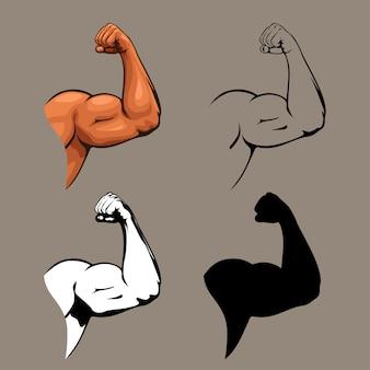 Ensemble de conception de mains humaines biceps