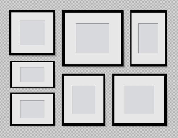 Ensemble de conception de maquette de cadre photo de vecteur sur du ruban adhésif isolé sur fond transparent