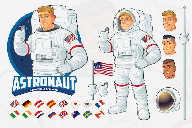 Ensemble de conception de mascotte astronaute avec fonctionnalités optionnelles