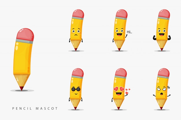 Ensemble de conception de mascotte crayon mignon