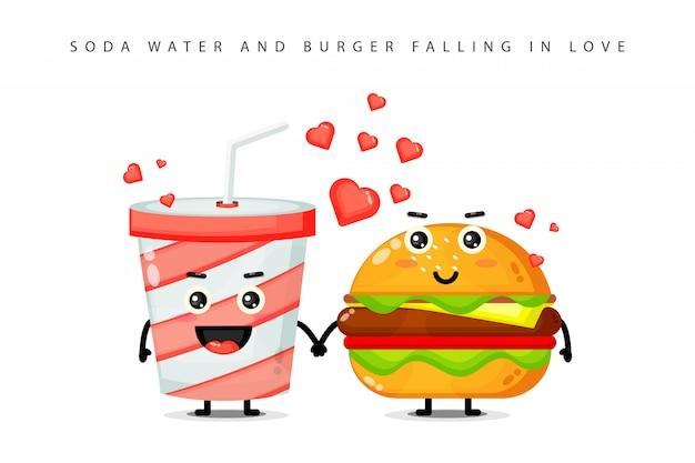 Ensemble de conception de mascotte de hamburger mignon