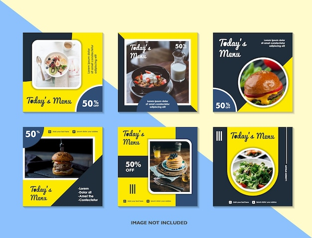 Ensemble de conception de modèle de bannière carrée modifiable pour la publication de nourriture sur instagram convient aux médias sociaux