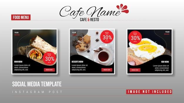 Ensemble de conception de modèle de bannière carrée modifiable pour la publication de nourriture sur instagram