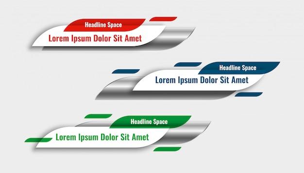 Ensemble de conception de modèle de bannière tiers inférieur élégant